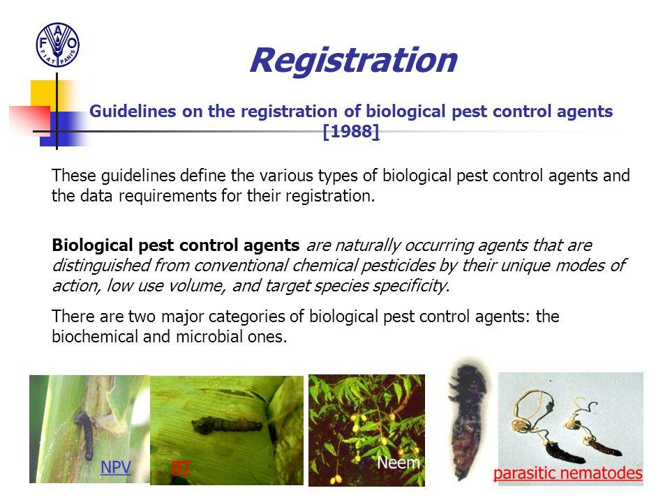 Registration Guidelines on the registration of biological pest control agents [1988]